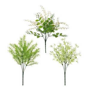 Blesiya 5 Branches Artificial Flower Fake Leaf Green Plant  Bouquet Garden Decor