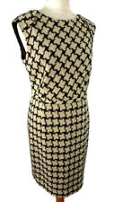 Hobbs Size 16 Black White Dogtooth Wool Sleeveless Dress Smart Office Work Party