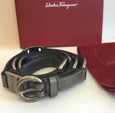 Salvatore Ferragamo Women's Belt Bronze Gunmetal Silver Logo Leather 90 US 36""