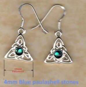 silver 925 Celtic & fancy stud drop earrings real blue stones Lapis Iolite etc
