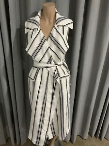 ***CAMEO C/MEO COLLECTIVE Striped White & BlCk Overcoat DRESS Large L
