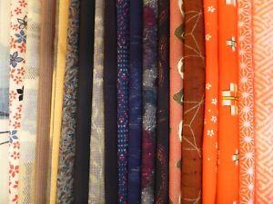 #2 Japanese Kimono Fabric, Scrap Remnants, 20 piece Bundle