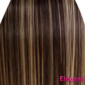 """15"""" Clip in Hair Extensions STRAIGHT Dark Brown/Blonde Mix #4/613 FULL HEAD"""