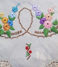 GORGEOUS COLOURFUL Hollyhocks Vintage Hand embroidered Centrepiece Doily
