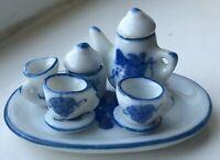Dollhouse Miniature Porcelain Blue Grapes Tea Set 10 Piece Set 1:12 Scale Vtg