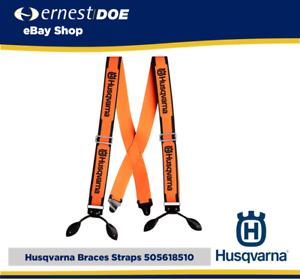 HUSQVARNA BRACES LEATHER STRAPS 5056185-10 EXTRA WIDE BRIGHT ORANGE NEW