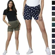 HAPPY MAMA Women's Maternity Overbump Shorts Jersey Pants with Pockets 1027