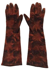 Vtg PATRICIA UNDERWOOD Womens Sz 7 Suede Long Gloves / Brown Burnt Orange Lined