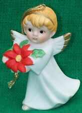 Vintage Porcelain Christmas Angel Figurine Ornament Holding Poinsettia