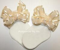 Frilly Ivory Bow Socks Organza Satin Infant Newborn Baby Baptism Flower Girls