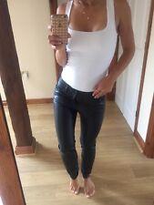 Zara Leather Look Skinny Low Waist Jeans Sz 8/ Small