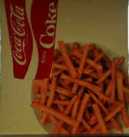 Vintage Coca-Cola Co Coke & French Fries   Litho Sign Plastic for Menu Boards