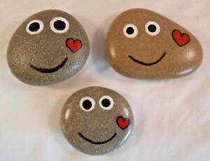 Hand painted rocks, stones, pebbles. Smiley pebbles with love hearts gift idea.