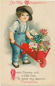 Wolf Ellen Clapsaddle Valentine - Boy with Wheelbarrow of Flowers for his Girl