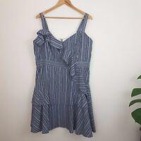 City Chic Sundress SZ M Grey Blue Striped Ruffles Zip Back Fully Lined Dress