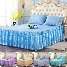 New Floral Bed Skirt Lace Ruffle Princess Bedspread Bedding Set With Pillowcase