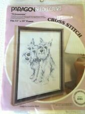 """NEW Paragon Stamped Cross Stitch Kit #785 """"Schnauzers"""" Dogs Made in USA 1977"""