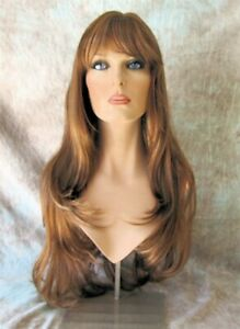 """Frosted Strawberry Blonde Long Wig Layers Center Skin Part Bangs 26"""" Dory"""