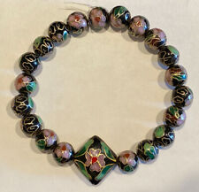 20+1 Cloisonné Beads. Black with Pink Flowers and Green Leaves. Loose Beads