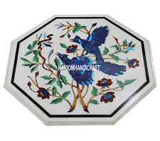 "18"" White Marble Coffee Table Lapis Birds Arts Inlaid Living room Decor H3054"