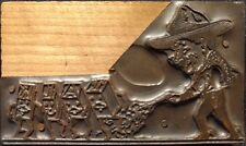 "Letter Press Plate Cowboy Shooting ""TALK"" Printing Block Wood Copper Vintage"