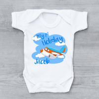 Personalised My First 1st Holiday Aeroplane Boys Baby Grow Bodysuit