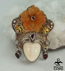 Vintage Sajen Goddess w/Various Color Stones Sterling Silver Brooch/Pendant