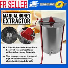 Extracteur de Miel Manuel 4X Cadre Rayons de miel Apiculture Centrifugeuse Inox