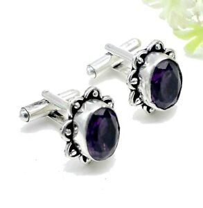 "Handmade 925 Sterling Silver Purple Amethyst Gemstone Jewelry Cuff Links S-1"""