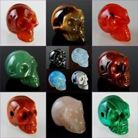 Wholesale Beautiful Mixed Gemstone Carved Skull Pendant Bead Please Pick Stone