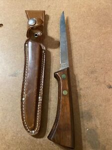 """Vintage Western FISH FILLET KNIFE with Leather Sheath, S-W766, 6"""" Blade filet"""