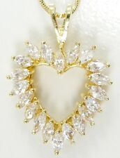 Danecraft Sterling Silver Vermeil CZ Heart Pendant Necklace Twisted Box Chain