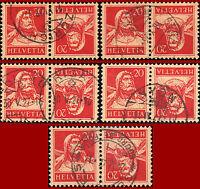 Schweiz 1925 Tellbrustbild 20 C + 20 C., rot, 5 Stück, gest., Zst. K25y, Mi K22x