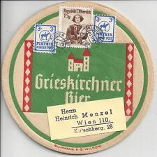 Bierdeckel Grieskirchner Bier mit PIATNIK Kinderpost + 15 Gr. Trachten Mischfr.