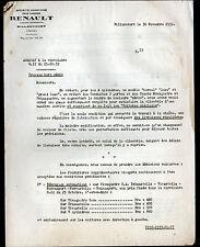 "BILLANCOURT (92) USINE d'AUTOMOBILES / Additif de CIRCULAIRE ""RENAULT"" en 1932"