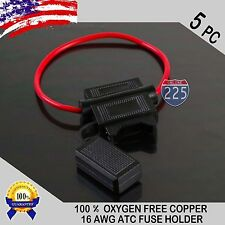 5 Pack 16 Gauge ATC In-Line Blade Fuse Holder 100% OFC Copper Wire Protection US