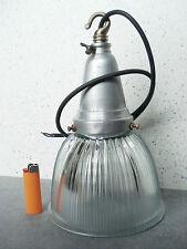 LAMPIONE LAMPADA ALLUMINIO VETRO HOLOPHANE ARREDAMENTO  VINTAGE DESIGN INDUSTRIA