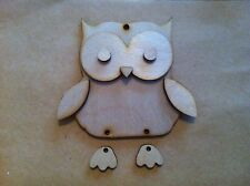 X3 large Wooden Owl Shape. Craft, Decoration, Unpainted, Plaque