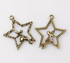 10Pcs bronze plated stars and girl pendants 28x25mm Bead331