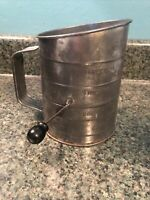 Vintage BROMWELL'S 3 Cup Flour Sifter- With Black Handle