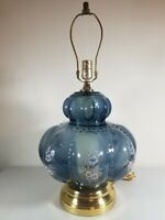 Hollywood Regency MCM Dark Clear Blue Floral Table Lamp Brass Footed Vintage
