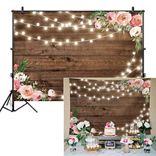Fabric Rustic Floral Wooden Floor Backdrop Shower Bridal Wedding Studio 7x5ft