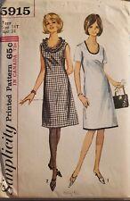 Vtg Simplicity pattern 5915 Teen A-line, low round neckline Dress sz 14T bust 34