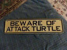"Beware Of Attack Turtle Plastic Sign Wall Hanging 11"" X 3"" Vg !"