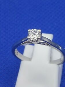 FOREVER Diamond Platinum 950 0.27 Carat Solitaire Ring Boxed Size M 3.6g