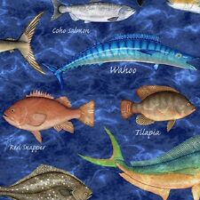 """Quilting Treasures Ocean Oasis - Marine Mixed Fish Fabric BTY 44"""" W     A3"""