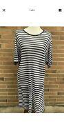 Eileen Fisher Gray White 100% Organic Linen Loose Knit Striped Dress Sz Large