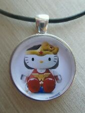 "Hello Kitty "" WONDER WOMAN "" Glass Pendant with Leather Necklace!"