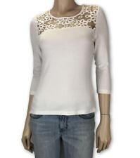REVIEW White T-shirt with Lace Cropped Sleeves Top Blouse Sz 8  #3444
