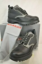 PRADA 4T3142  BLACK TWO TONE LEATHER FABRIC  LACE UP HIKING SHORT BOOTS 9 US 10